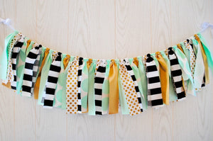 Mint and Gold Fabric Bunting - FREE Shipping