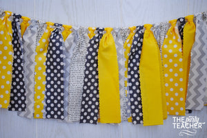 Mystery Party Yellow & Gray Fabric Bunting - FREE Shipping
