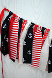 Nautical Patriotic Fabric Tie Garland - FREE Shipping