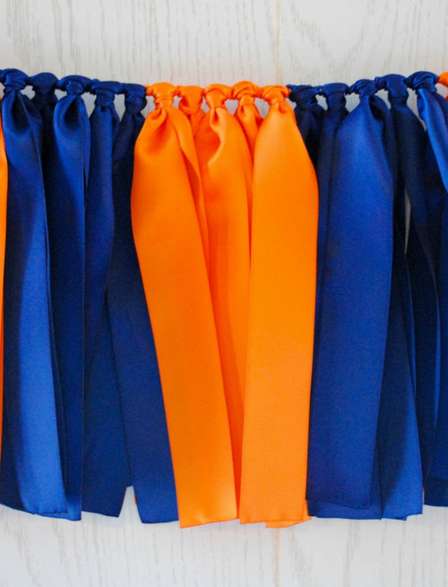 Navy Orange Ribbon Bunting - FREE Shipping