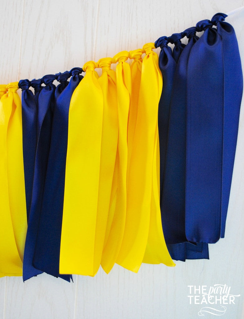 Navy Yellow Ribbon Tie Garland - FREE Shipping