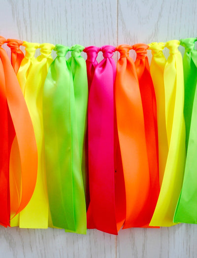Neon Party Ribbon Bunting - FREE Shipping