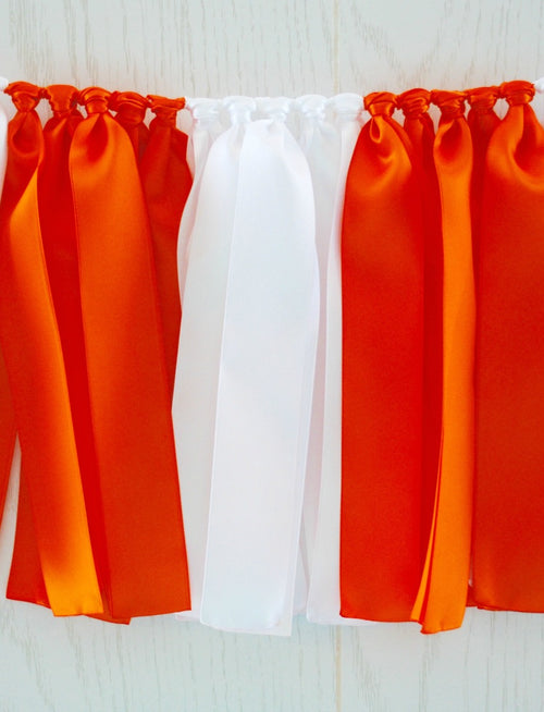 Orange White Ribbon Bunting - FREE Shipping