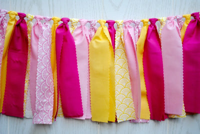 Pink Lemonade Fabric Bunting - FREE Shipping