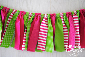 Preppy Pink and Green Fabric Bunting - FREE Shipping