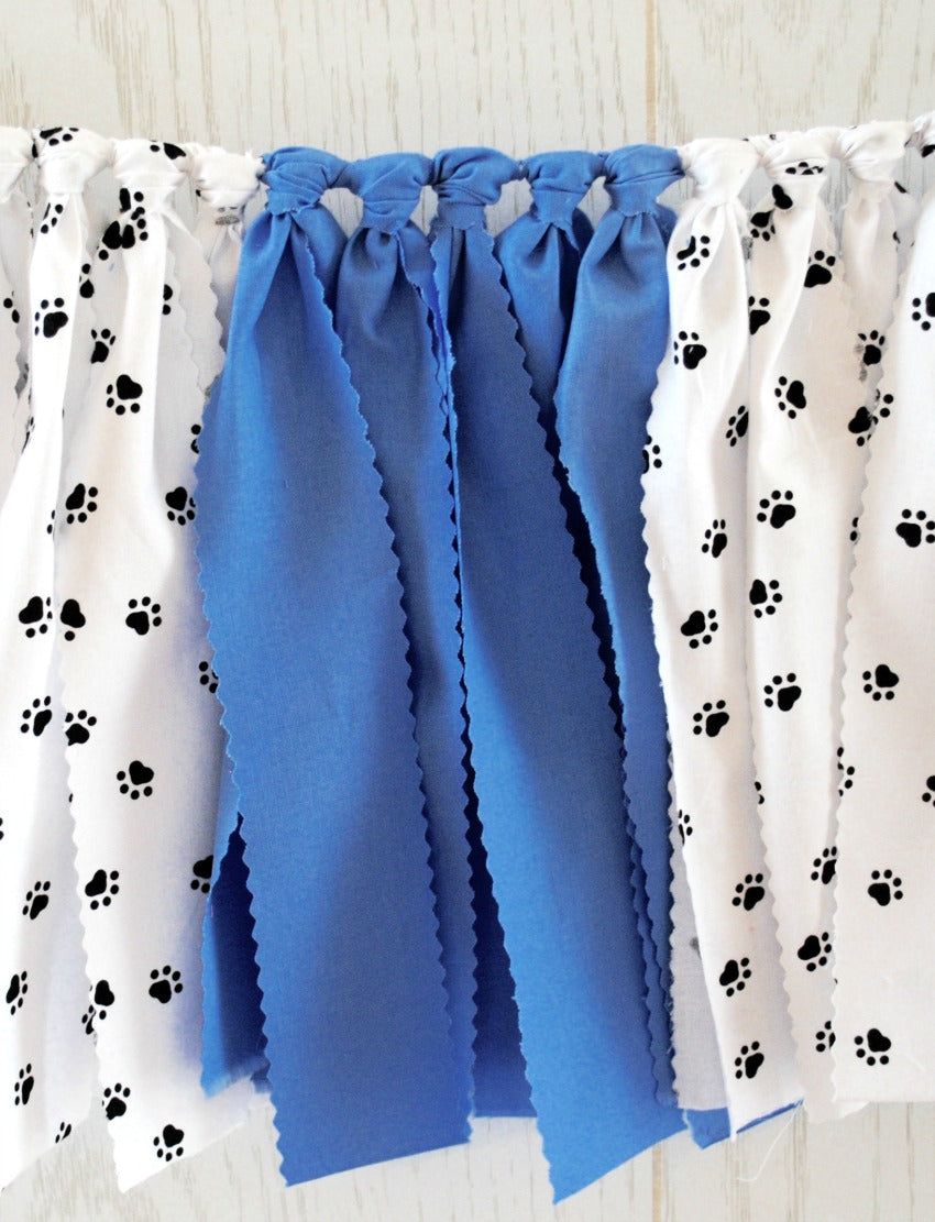 Blue Puppy Party Fabric Bunting - FREE Shipping