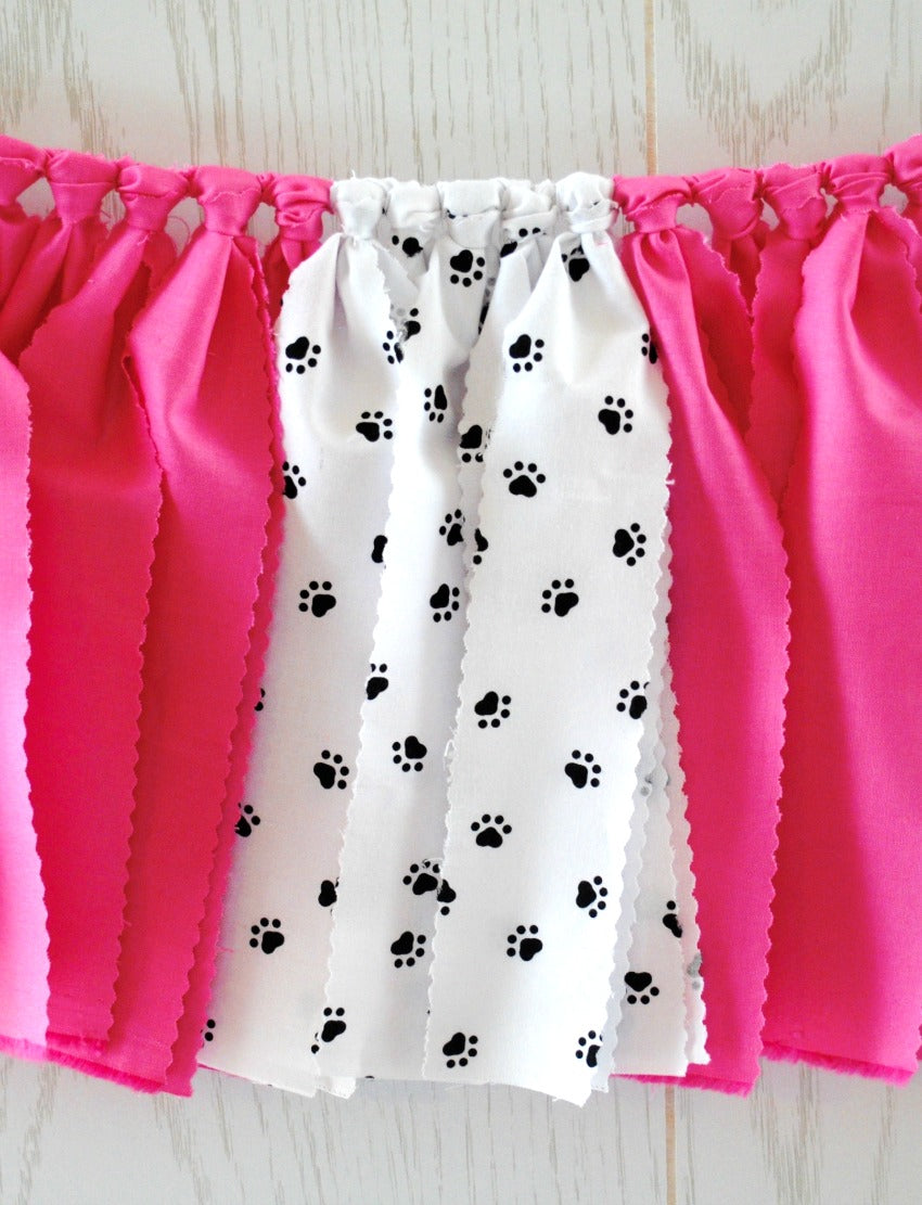 Pink Puppy Party Fabric Bunting - FREE Shipping