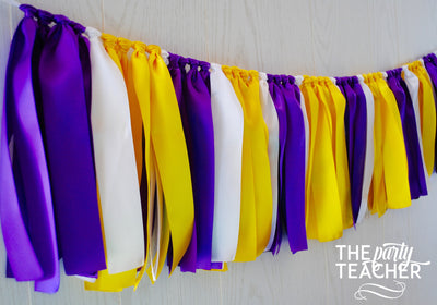 Purple Yellow White Ribbon Bunting - FREE Shipping