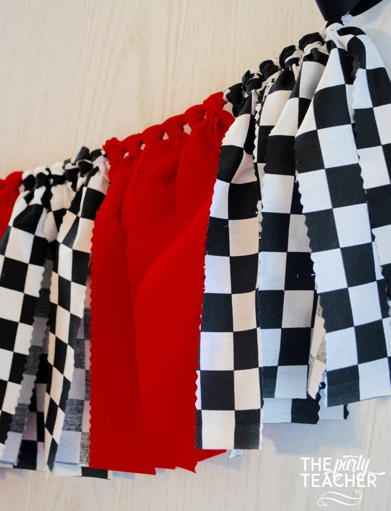 Race Car Fabric Tie Garland - FREE Shipping