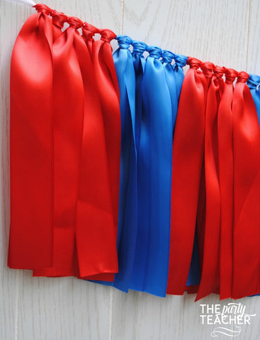 Red Royal Blue Ribbon Bunting - FREE Shipping