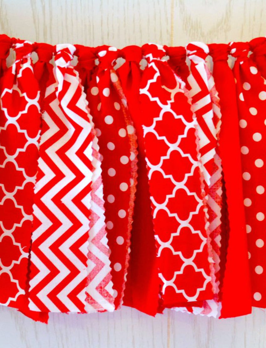 Red Fabric Bunting - FREE Shipping