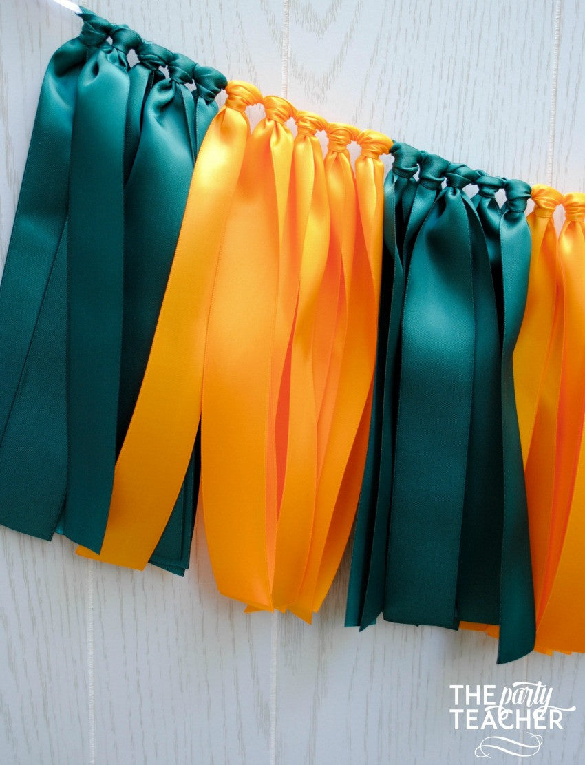 Forest Green Yellow Gold Ribbon Bunting - FREE Shipping