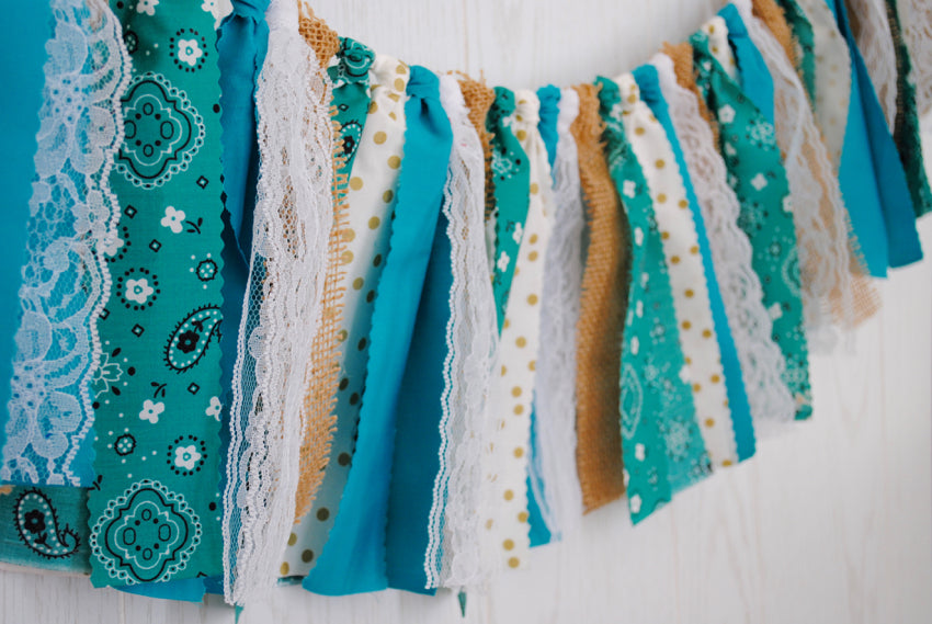 Rustic Teal Fabric Bunting - FREE Shipping
