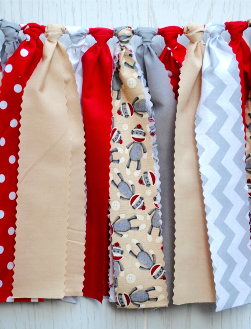 Sock Monkey Fabric Bunting - FREE Shipping