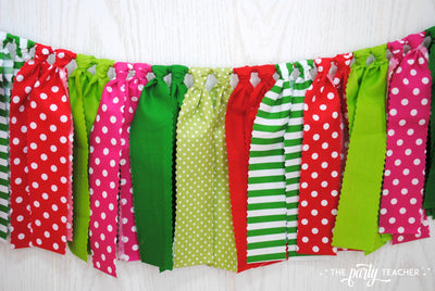 Strawberry Fabric Bunting - FREE Shipping