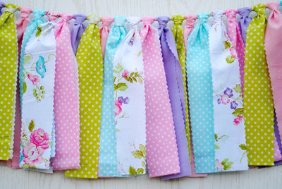 Tea Party Fabric Bunting - FREE Shipping
