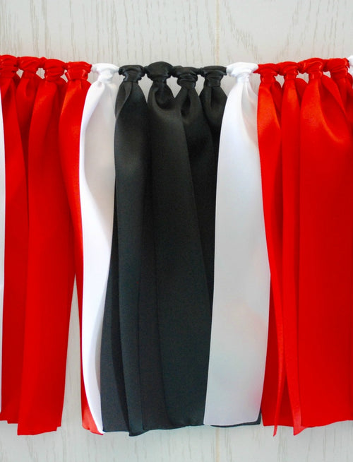Red Black White Ribbon Bunting - FREE Shipping
