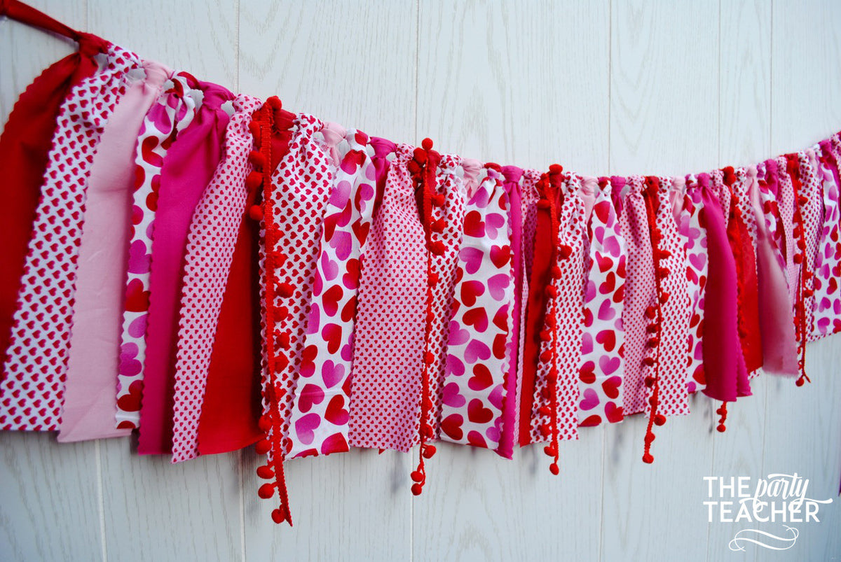 Valentine's Fabric Bunting - FREE Shipping