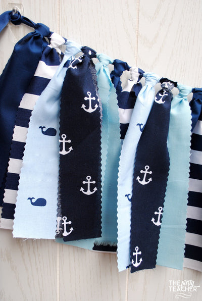 Whale Fabric Bunting - FREE Shipping