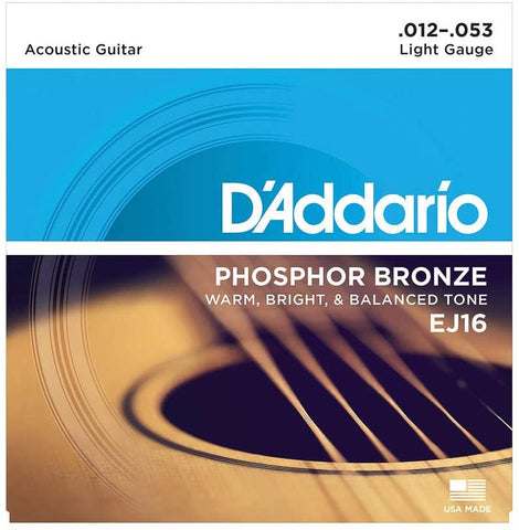 D'Addario EJ16 Phosphor Bronze Acoustic Guitar Strings, Light - Texas Tour Gear