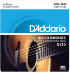 D'Addario EJ36 12-String Bronze Acoustic Guitar Strings, Light, 10-47 - Texas Tour Gear