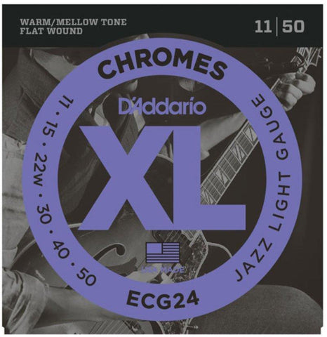 D'Addario Guitar Strings Set, Chromes, Jazz Light - Texas Tour Gear