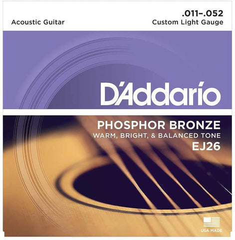 D'Addario EJ26 Phosphor Bronze Acoustic Guitar Strings, Custom Light, 11-52 - Texas Tour Gear