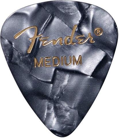 Fender 351 Premium Celluloid Guitar Picks, 12-Pack - Medium - Black Moto - Texas Tour Gear