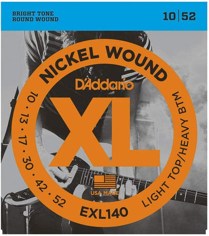D'Addario EXL140 Nickel Wound Electric Strings -.010-.052 Light Top/Heavy Bottom - Texas Tour Gear
