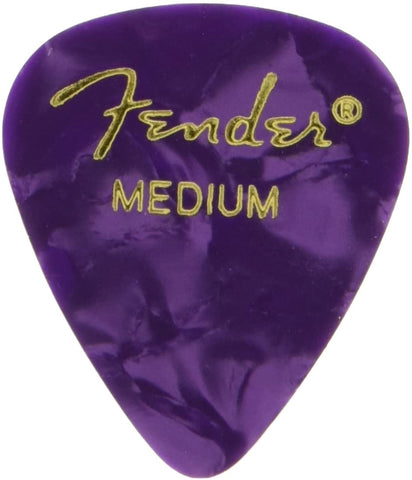 Fender 351 Shape Classic Thin Celluloid Picks, 12 Pack - Medium - Purple Moto - Texas Tour Gear