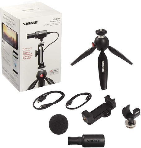 Shure MV88+ Video Kit with Digital Stereo Condenser Microphone for Apple and Android - Texas Tour Gear