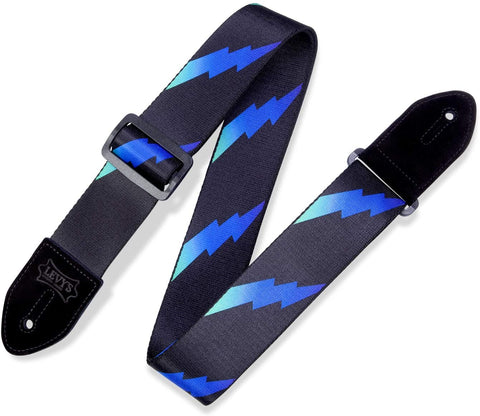 "Levy's Leathers 2"" Polyester Guitar Strap Rainbolt Design; Blue and Black (MPRB2-004) - Texas Tour Gear"