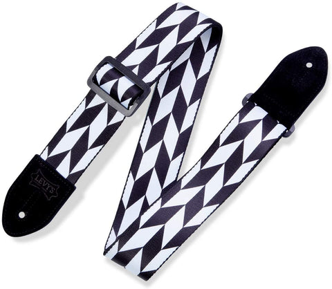 "Levy's Leathers 2"" Polyester Guitar Strap Offset Arrow Design; Black and White (MPF2-001) - Texas Tour Gear"
