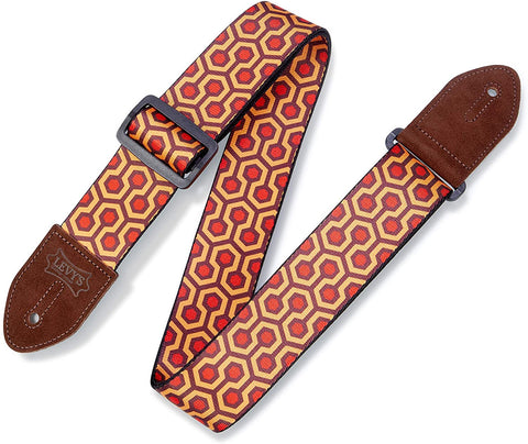 "Levy's Leathers 2"" Polyester Guitar Strap Hex Design; Burgundy, Red, and Mustard (MP2-007) - Texas Tour Gear"