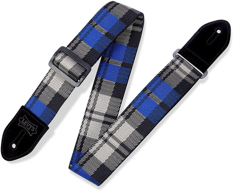 "Levy's Leathers 2"" Polyester Guitar Strap Cobalt Plaid Poly Design; Blue, Cream, and Black (MC8VIN-009) - Texas Tour Gear"