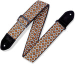"Levy's Leathers 2"" Fabric Guitar Strap Cathedral Design; Brown, Tan, and Black (MC8JQ-005) - Texas Tour Gear"