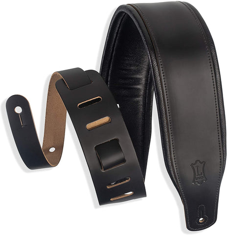 "Levy's Leathers 3"" Wide Leather Guitar Strap with Foam Padding and Garment Leather Backing; Black (M26PD-BLK) - Texas Tour Gear"