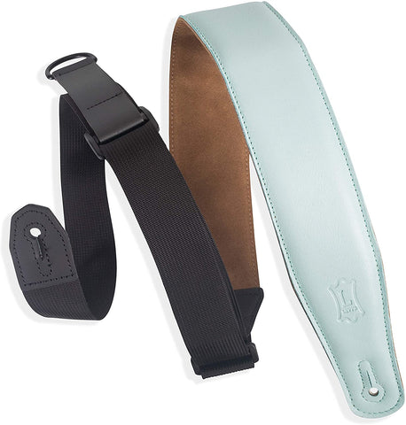"Levy's Leathers Right Height Guitar Strap with RipChord Quick Adjustment Technology and Suede Backing; 2.5"" Width Padded Garment Leather - Aqua (MRHGS-AQU) - Texas Tour Gear"