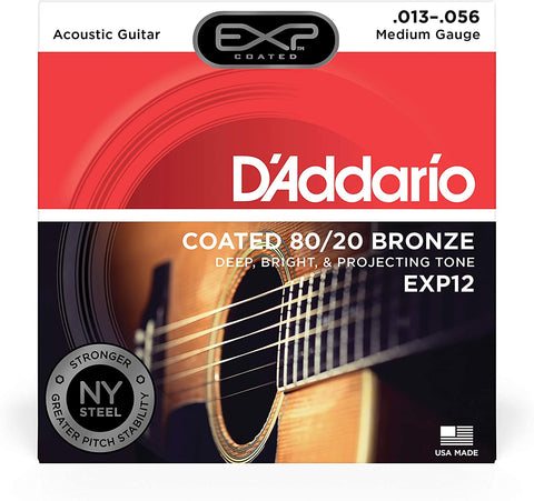 D'Addario EXP12 Medium Coated 80/20 Bronze Acoustic Strings - .013-.056 - Texas Tour Gear