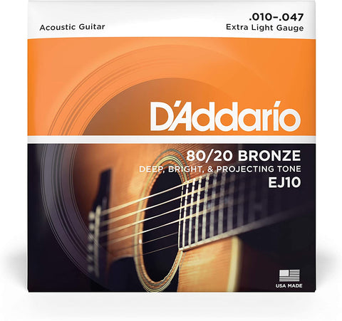 D'Addario EJ10 Bronze Acoustic Guitar Strings, Extra Light, 10-47 - Texas Tour Gear