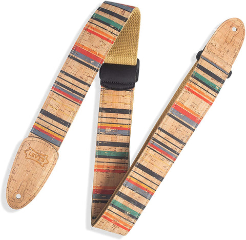 "Levy's Leathers 2"" Wide Vegan Friendly Natural Cork Guitar Strap; Nantucket Pattern (MX8-003) - Texas Tour Gear"