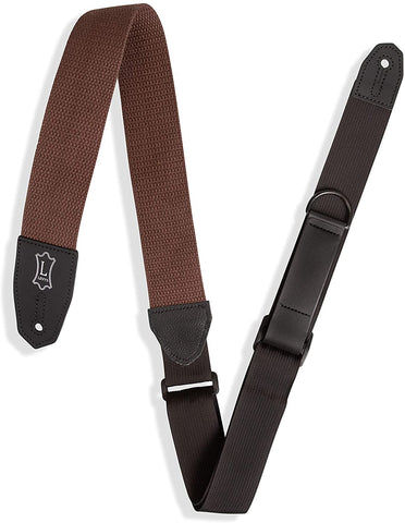 "Levy's Leathers Right Height Guitar Strap with RipChord Quick Adjustment Technology; 2"" Wide Cotton - Brown (MRHC-BRN) - Texas Tour Gear"