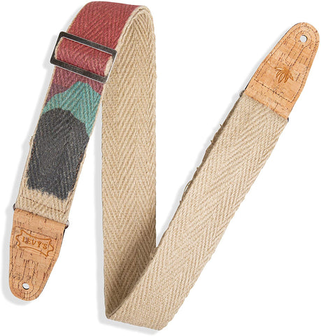 "Levy's Leathers 2"" Wide Vegan Friendly Hemp Webbing Guitar Strap; Sunset Pattern (MH8P-003) - Texas Tour Gear"