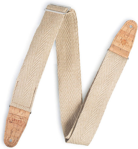 "Levy's Leathers 2"" Wide Vegan Friendly Hemp Webbing Guitar Strap; Natural (MH8P-NAT) - Texas Tour Gear"