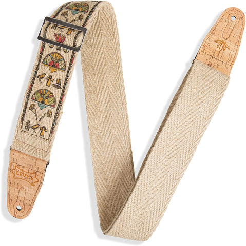 "Levy's Leathers 2"" Wide Vegan Friendly Hemp Webbing Guitar Strap; Egyptian Pattern (MH8P-004) - Texas Tour Gear"
