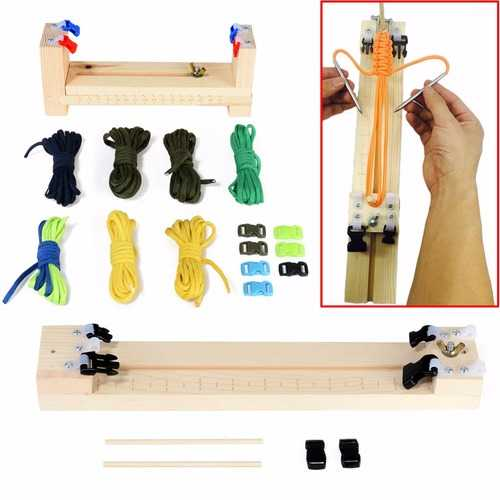 IPRee DIY Jig Solid Wood Paracord Bracelet Maker Knitting Tool Wristband Weaving Braiding Device