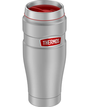 Thermos 16oz Stainless Steel Travel Tumbler - Matte Steel w/Red Badge - 7 Hours Hot/18 Hours Cold [SK1005MSR4]