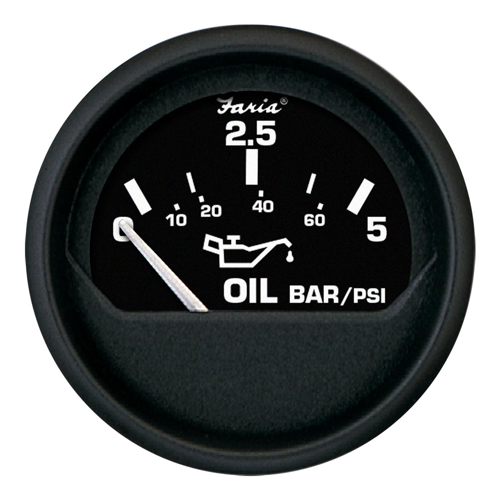 "Faria Euro Black 2"" Oil Pressure Gauge - Metric (5 Bar) [12805]"