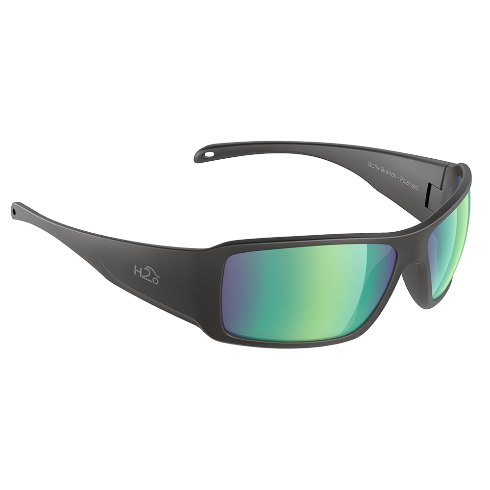 H2Optix Stream Sunglasses Matt Black, Brown Green Flash Mirror Lens Cat.3 - AntiSalt Coating w/Floatable Cord [H2020]