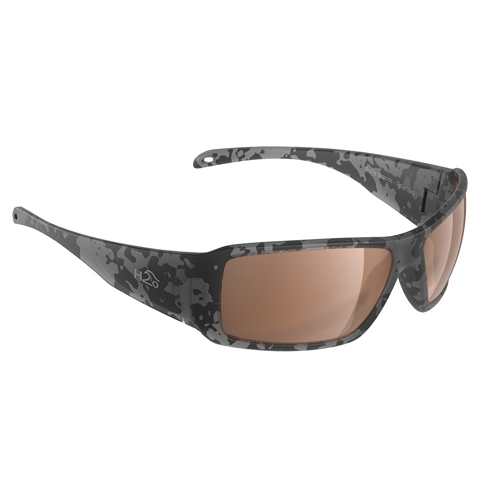 H2Optix Stream Sunglasses Matt Tiger Shark, Brown Lens Cat.3 - AntiSalt Coating w/Floatable Cord [H2023]